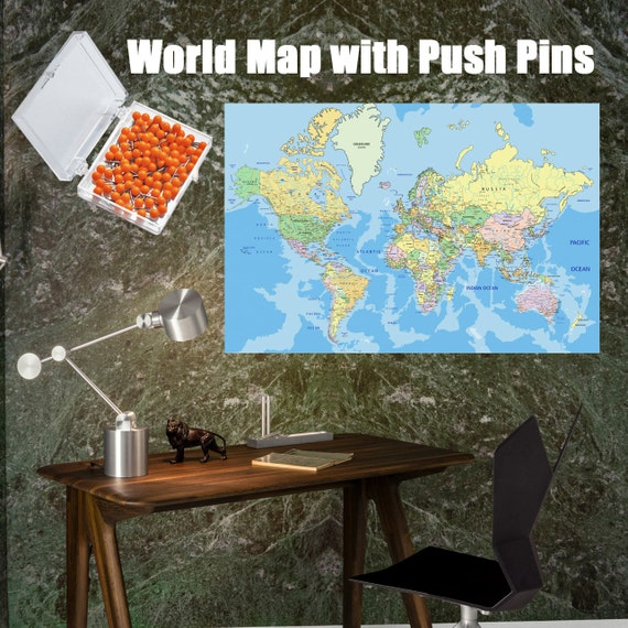 Push Pin Travel Map, World Travels Map, Map Art, World Map Canvas ...