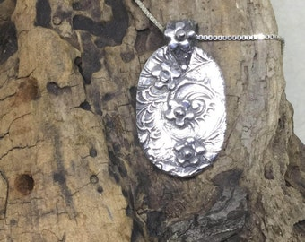 Fine Silver Pendant with Tiny Flowers
