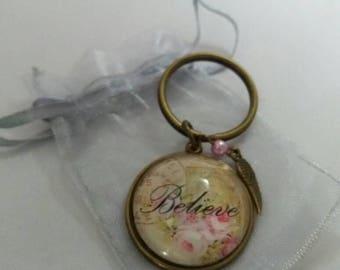 Vintage believe keyring. Believe keyring. Gift for her.