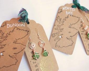 SAMARITANA ONE 4 ONE // Rose Gold Green Scottish Sea Glass earrings / jewellery / Scotland to Manila Philippines / Róis Scotland / Scottish