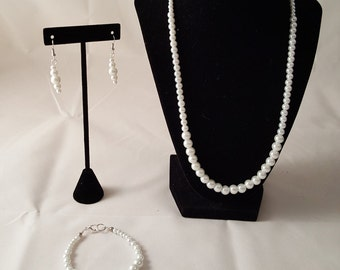 White Pearl Jewelry Set - White Glass Pearl Jewelry Set - White Jewelry Set - Pearl Necklace - Pearl Jewelry Set - White Jewelry Set - Pearl