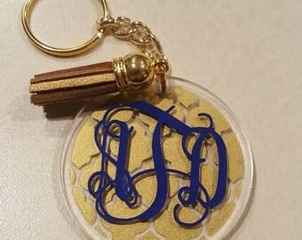 Monogrammed Quatrefoil Keychain, Custom Made