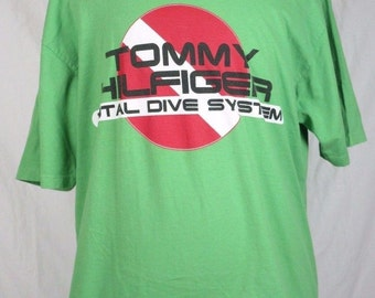 Tommy Hilfiger XL Lime Green T-shirt Total Dive System 90s Vintage Spellout