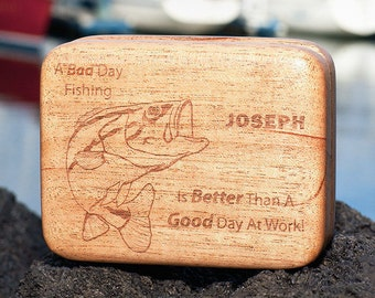 Christmas Gift: Mahogany Fly Fishing Box, Fly Box, Personalized Fishing Lure Box, Retirement, Laser Engraved, Made in USA