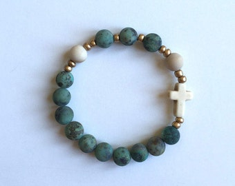 African Turquoise and Petrified Wood Rosary Bracelet