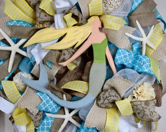 Mermaid Turquoise and Yellow Burlap and Mesh Wreath with Starfish; Nautical Beach Shore Decor Wreath; Summer Decor Wreath; Beach House Decor