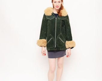 Green Suede 70s Coat - Jacket, Zipper, Bomber, Vintage, Penny Lane, Fall
