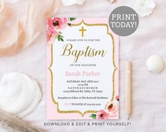 Baptism invitations etsy girl baptism invitation template pink baptism editable pdf invitation printable floral baptism invite stopboris Image collections