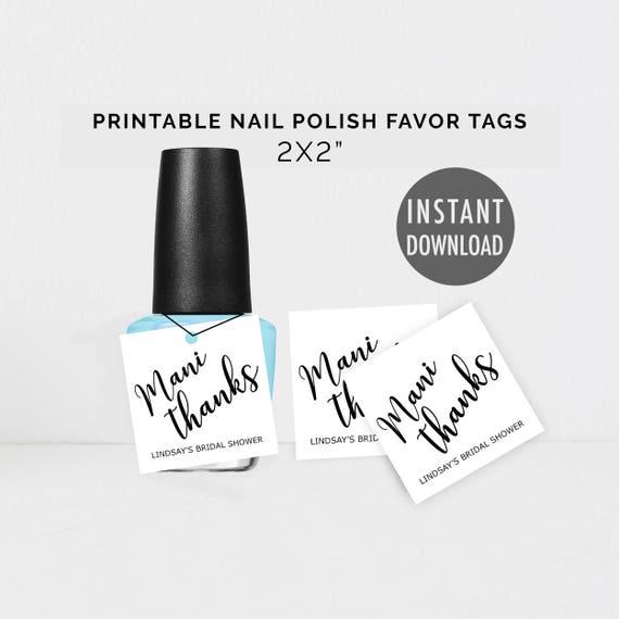 Printable Nail Polish Favor Tags, DIY Nail Favor Tags Template, Mani ...