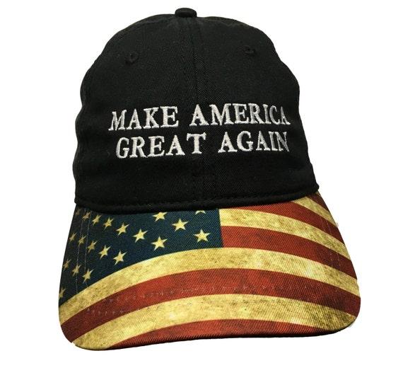 Make America Great Again Ball Cap  Black with Flag Bill