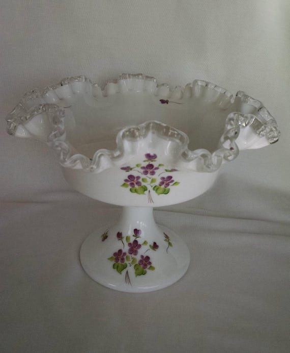 fenton art glass silvercrest hand painted and signed ruffled