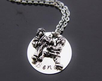 Silver Taekwondo Charm Necklace, Taekwando Pendant, Taekwondo Necklace, Personalized Necklace, Name Charm, Name Necklace