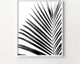 Palm leaf, leaf print, botanical print, black and white palm, tropical art, palm leaf art, summer print, boho wall art, tropical print black
