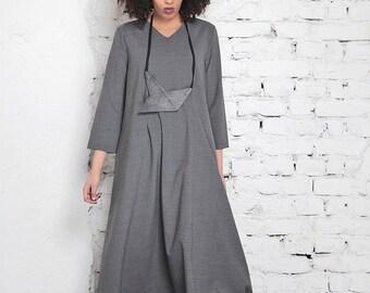 Boho Chic Dress/ Gray Maxi Dress/ Oversized Dress/ Plus Size Maxi Dress/ Long Sleeve Dress/ Long Sweater Dress/Womens Plus Size Dress/Adeptt