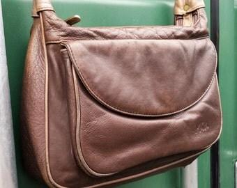 Mia Brown leather Shoulder Bag, Vintage two tone Mia Messenger Bag, Brown leather Cross Body Messenger Satchel Purse, Hobo Satchel Tote Bag