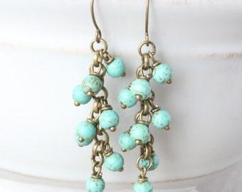 Magnesite Dangle Bronze Earrings - Blue Earrings, Turquoise Earrings, Bronze Jewelry, Boho Earrings, Boho Jewelry, Cluster Drop Earrings