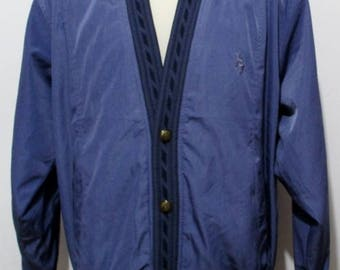 """80s Vintage Mens Perrywinkle Blue Sports Bomber Coat XL 48"""" (46-48) Retro / Casual Jacket ---Quality Vintage Menswear---"""