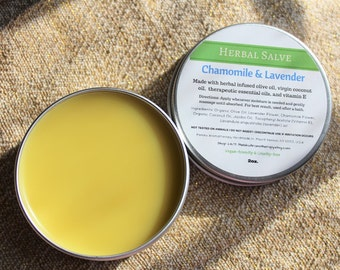 Chamomile + Lavender, Herbal Salve, Healing Salve, Skincare, Moisturizer, Balm, Body Balm, Hand Salve, Bath and Body, Vegan Birthday Gift