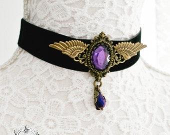 Black velvet victorian gothic choker-gothic choker-black choker-victorian gothic jewelry