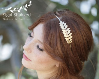 Bridal Headband, Bridal gold Headband, Bridal Headpiece, Woodland Headpiece, Boho Headband, Greek Headband, Leaf Headband, Bridal Headband