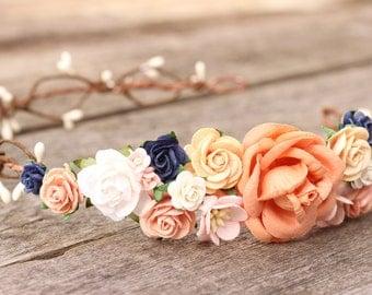 Flower Crown Peach, Wedding Flower Crown, Spring Flower Crown, Maternity Crown, Floral Headpiece, Bridal Flower Headband, Navy Flower Crown