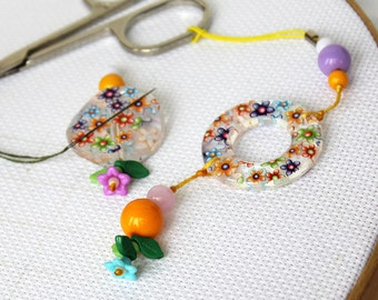 "OOAK Scissor Fob & Needle Minder Set ""Creamy-floral tenderness"""