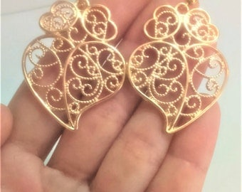 1 Pair of Portuguese filigree earrings gold 4.0 cm heart flower findings Viana Heart earrings, portuguese traditional jewellery, Portugal
