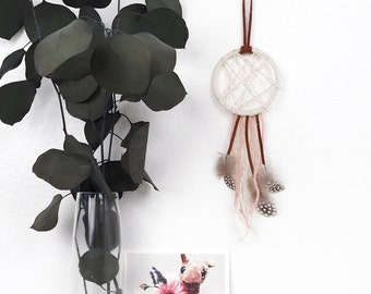 Girl Nursery Wall Decor - Boho Baby Dream Catcher - Pastel Pink Nursery Dreamcatcher - Mini Dreamcatcher - Baby Girl Baby Shower Decoration