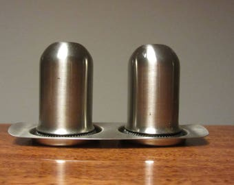 EMPIRE MADE - Stainless steel small cruet set - Salt and Pepper Shakers in a Tray - Made in Hong Kong - 1970s