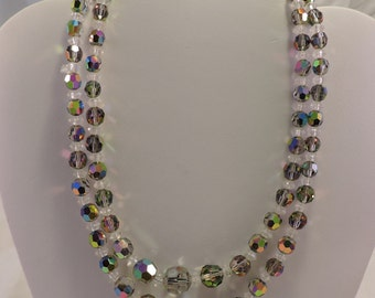 Vintage Mid-Century Double Stranded  Iridescent Beaded Necklace