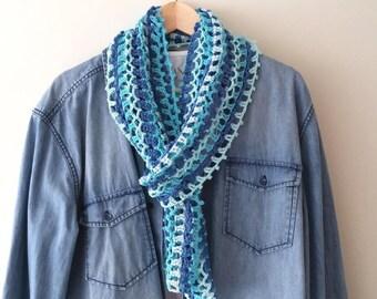 Crochet summer scarf pattern, Little blue summer scarf, colorful crochet scarf,easy crochet scarf pattern,stripe crochet scarf,PDF US terms