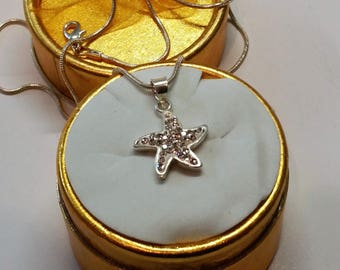 925 star Crystal stones SK564 glitter pendant silver