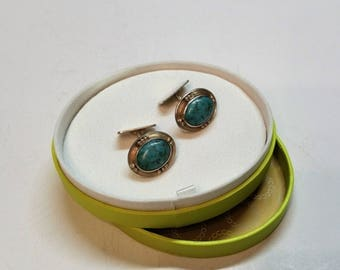 Cuff links of cufflinks silver 835 turquoise old nostalgia vintage MS158