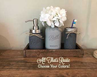 Rustic Bathroom Decor, Rustic Home Decor, Rustic, Mason Jar Bathroom Set, Painted Mason Jars, Mason Jar Decor, Bathroom Decor, Home Decor