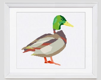 Duck cross stitch pattern, modern counted cross stitch, Duck counted cross stitch pattern