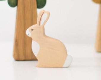 Wooden Toy Hare.  Forest Animal Toy. Bunny Toy for Toddlers. Wooden Toy Rabbit. Wooden Hare Toy for Toddlers.