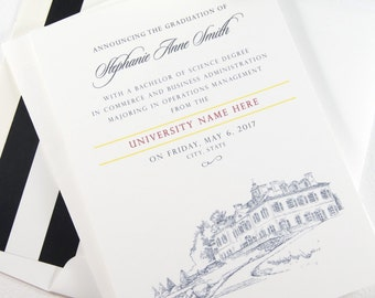 Graduation Announcements, Ohio State University, Columbus State,  Cincinnati, Invitation, Grads, College (set of 25 cards and envelopes)