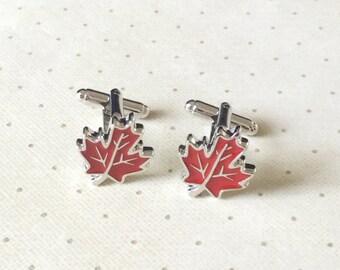 Red Maple Leaf Canadian Cufflinks Cuff Links in Silver