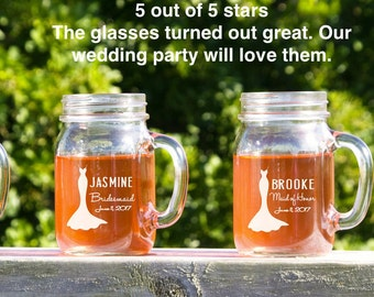 Bridesmaid Gift, Mason Jar, Set of 12, Rustic Bridal Shower, Country Wedding, Bridesmaids Toast, Bridal Party Toast, Maid of Honor Mason Jar