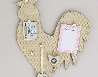 Notice Board Memo Board Pin Board Chicken Bulletin Board Chicken wire board Hen bulletin Board Beige storage board Sign Hand painted Handmad