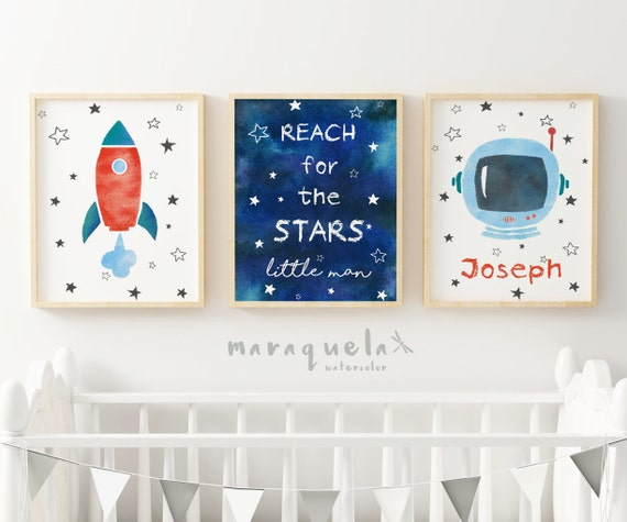 Nursery SET, ASTRONAUT, ROCKET and stars sky illustration. Conjunto infantil Astronauta.