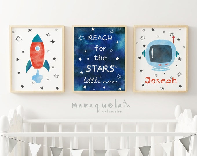 Nursery SET, ASTRONAUT,ROCKET and stars sky illustration for child,kids,baby boys,phrase,reach for the star little man,message for baby boy