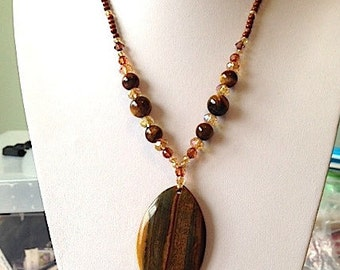 Bronze Amber Brown Tiger Eye Beaded Statement Necklace