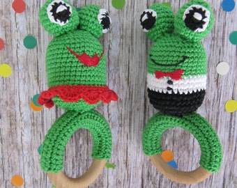 twins baby gifts twins boy girl twins gift cotton teething ring wooden teether baby twins toys shower gift eco toys organic baby rattle frog