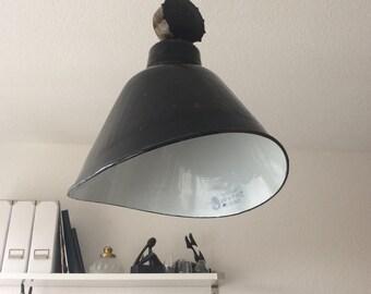 Vintage Emaillie lamp German factory industrial steel