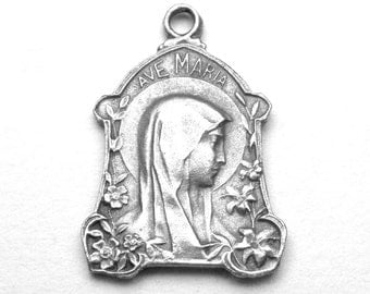 Ave Maria with Lily Flowers Antique Art Nouveau French Holy Medal, Catholic Medal, Blessed Mother Virgin Mary, Our Lady of Lourdes