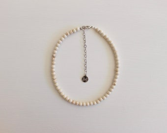 Beaded Choker - Sand, White