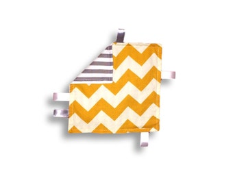 Crinkle Paper <<Mustard & Gray Chevron>> Baby/Toddler/Baby Toy/Noise Maker/Tag Toy/Sensory Toy/Stripes/Yellow//Gold//Gray//White//Ribbon