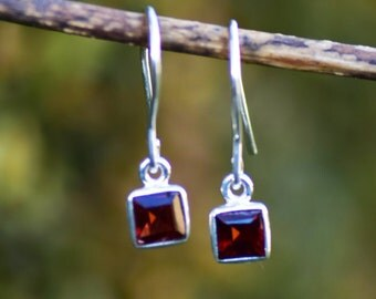 Garnet Earrings Garnet Silver Earring Red Gemstone Earring Garnet Jewelry Garnet Drop Earring Sterling Silver Garnet Dangle Small Earring