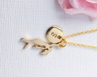 Gold mermaid necklace, mermaid necklace, mermaid jewellery, mermaid, birthstone necklace, initial necklace, mermaid necklace, gold mermaid